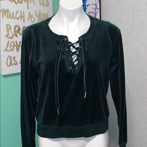 emerald green velvet lace up sweater
